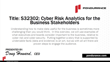 Cyber Risk Analytics for the Business Stakeholders [S32302]