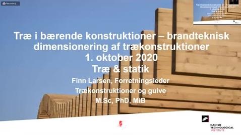 Thumbnail for entry Træ i bærende konstruktioner – brandteknisk dimensionering af trækonstruktioner