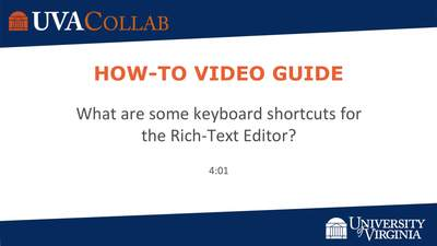 What Are Some Keyboard Shortcuts For The Rich Text Editor
