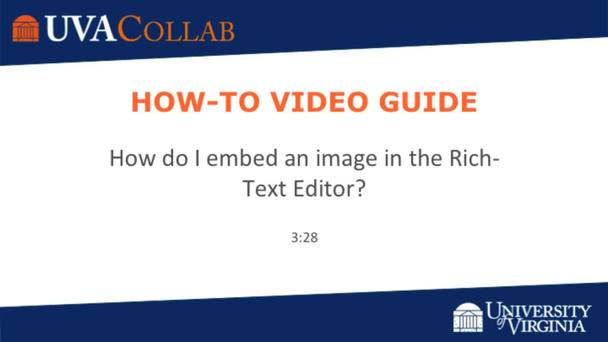 How do I embed an image in the Rich-Text Editor? | Getting Started