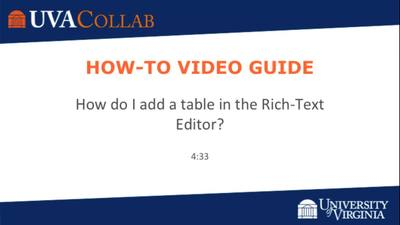 How do I add/edit a table in the Rich-Text Editor? | Getting