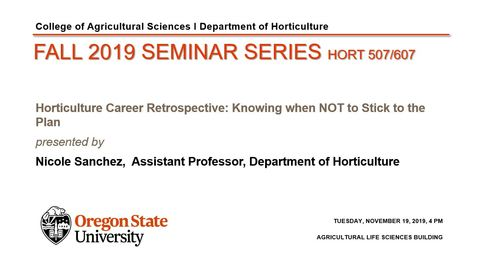 HORT 507/607 Fall 2019 Seminar Series