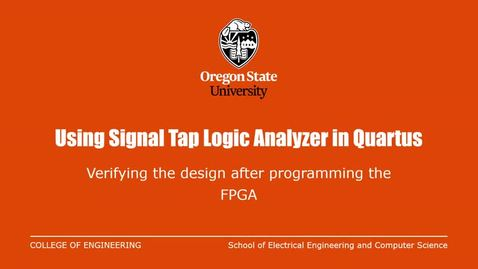 Thumbnail for entry Tutorial:  Quartus Logic Analyzer