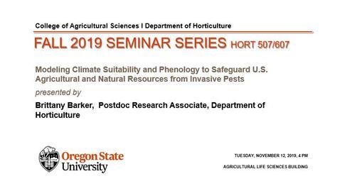 Thumbnail for entry HORT 507/607 Fall 2019 Seminar Series