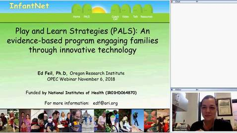 Thumbnail for entry OPEC Webinar: Play and Learn Strategies (PALS): An evidence-based program engaging families through innovative technology [11-6-18]