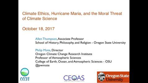 Thumbnail for entry Climate Ethics, Hurricane Maria, and the Moral Threat of Climate Science