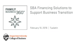 Thumbnail for entry SBA Financing Solutions to Support Business Transition