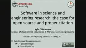 Thumbnail for entry Research Computing Seminar on Software in Science and Engineering