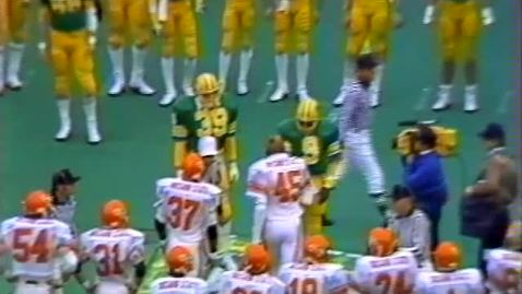 Oregon State University vs. University of Oregon. Civil War football game, November 19, 1983. First Half.