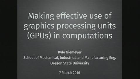 Thumbnail for entry GPU Research Computing Seminar