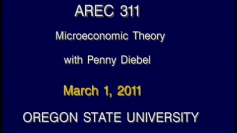 Thumbnail for entry AREC 311 Winter 2011 - Lecture 27