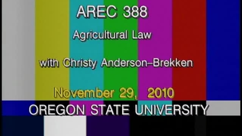 Thumbnail for entry AREC 388 Fall 2010 - Lecture 17