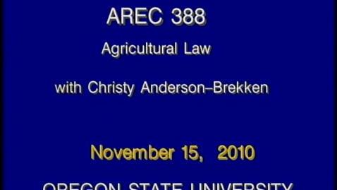 Thumbnail for entry AREC 388 Fall 2010 - Lecture 14