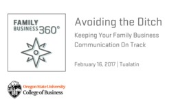 Thumbnail for entry Avoiding the Ditch: Keeping Your Family Business Communication On Track