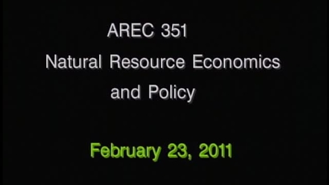 Thumbnail for entry AREC 351 Winter 2011 - Lecture 18