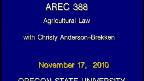 Thumbnail for entry AREC 388 Fall 2010 - Lecture 15