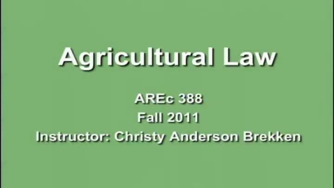 Thumbnail for entry AREC 388 Fall 2011 - Lecture 01