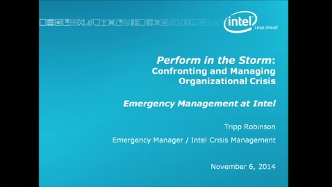 Thumbnail for entry Corporate Partners Seminar (November 6, 2014): Tripp Robinson - Performing in the Storm: Confronting and Managing Organizational Crisis