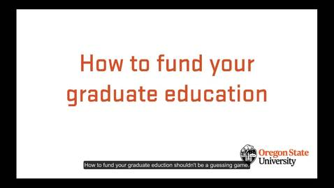 Thumbnail for entry Funding options for graduate students
