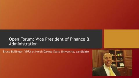 VP for Finance & Administration Candidate Forum: Bruce Bollinger