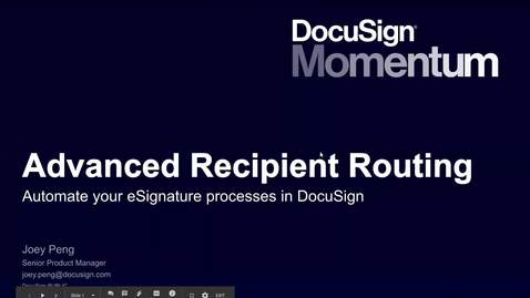 Thumbnail for entry DocuSign Demo - Conditional Routing - GMT20190712