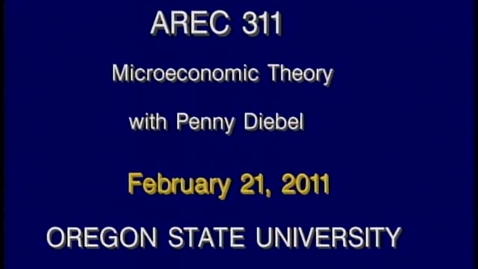 Thumbnail for entry AREC 311 Winter 2011 - Lecture 24