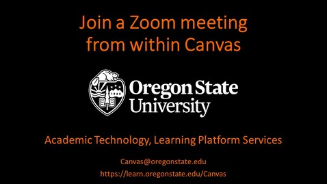 Thumbnail for entry Student: Join a Zoom Meeting in Canvas