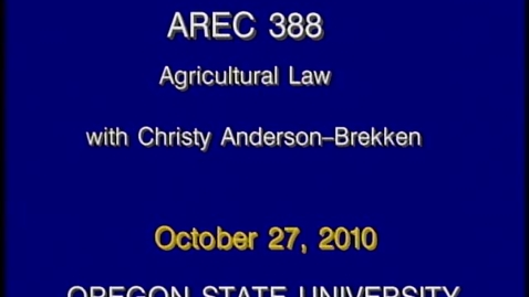 Thumbnail for entry AREC 388 Fall 2010 - Lecture 10