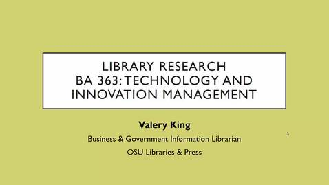 Thumbnail for entry BA 363 Pt 1: Library Research