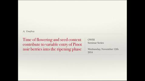 Thumbnail for entry OWRI Seminar: Time of flowering and seed content 11.12.2014