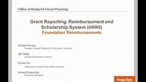Thumbnail for entry Foundation Reimbursements using GRRS
