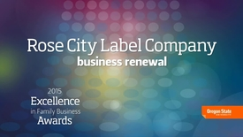 2015 Excellence in Family Business Awards - Rose City Label