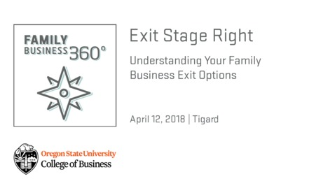 Thumbnail for entry Exit Stage Right: Understanding Your Family Business Exit Options