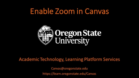 Thumbnail for entry Instructor: Enable Zoom in Canvas