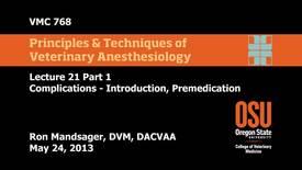 23 01 Complications - Introduction, Premedication