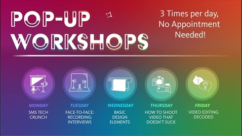 """Thumbnail for entry SMS """"Pop Up"""" Workshop Promo Video"""