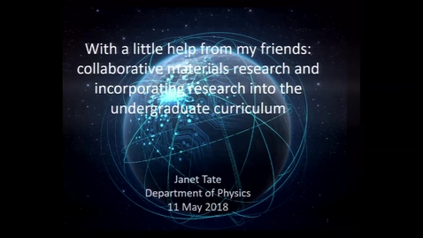 Thumbnail for entry 2018 Distinguished Professor Lecture - Janet Tate