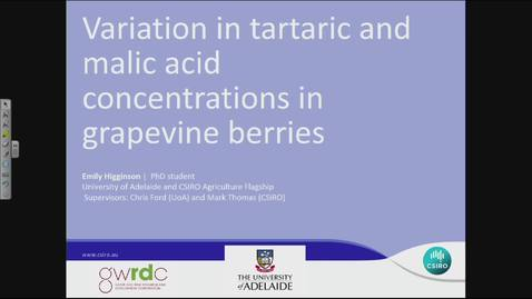 Thumbnail for entry OWRI Seminar: Variation in Tartaric and Malic Acid Concentrations in Grapevine Berries 8.8.2014