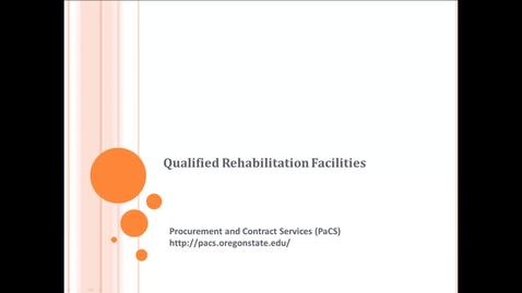 Thumbnail for entry Qualified Rehabilitation Facilities (QRFs)