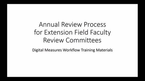 Thumbnail for entry Review Committee OES Annual Review DM Workflow