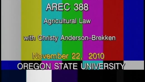 Thumbnail for entry AREC 388 Fall 2010 - Lecture 16