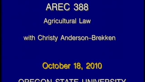 Thumbnail for entry AREC 388 Fall 2010 - Lecture 07