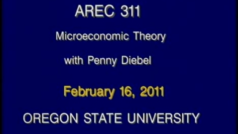 Thumbnail for entry AREC 311 Winter 2011 - Lecture 22