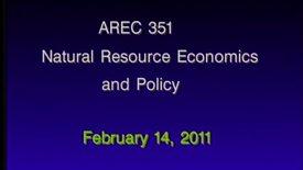 AREC 351 Winter 2011 - Lecture 16
