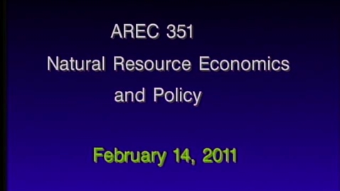 Thumbnail for entry AREC 351 Winter 2011 - Lecture 16