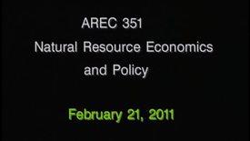 AREC 351 Winter 2011 - Lecture 17