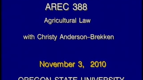 Thumbnail for entry AREC 388 Fall 2010 - Lecture 11