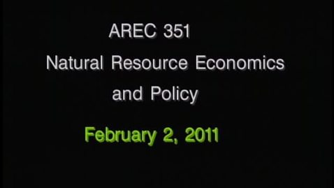 Thumbnail for entry AREC 351 Winter 2011 - Lecture 12