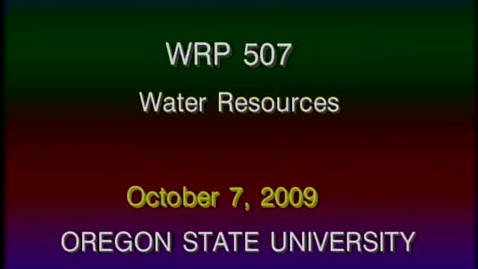 Thumbnail for entry WRP 507 Fall 2009 - Lecture 2