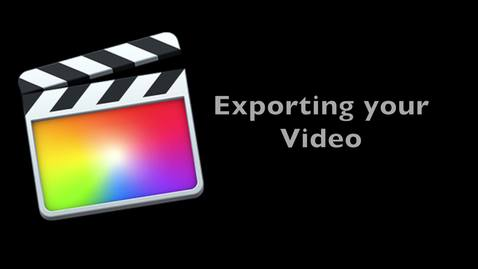 Final Cut Pro X 10.1 -- How to Export